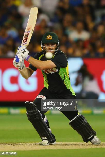 Travis Head of Australia bats during the first International Twenty20 match between Australia and Sri Lanka at Melbourne Cricket Ground on February...
