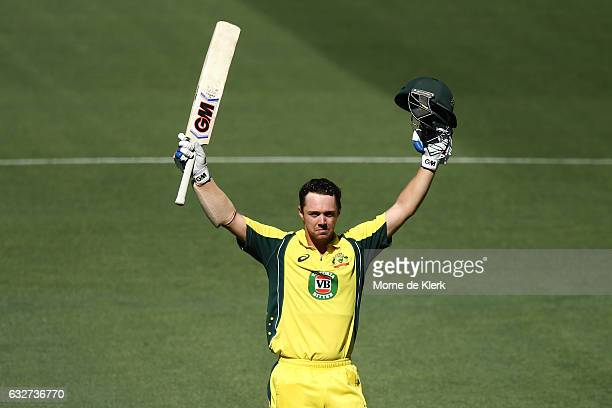 Travis Head of Australia celebrates after reaching 100 runs during game five of the One Day International series between Australia and Pakistan at...