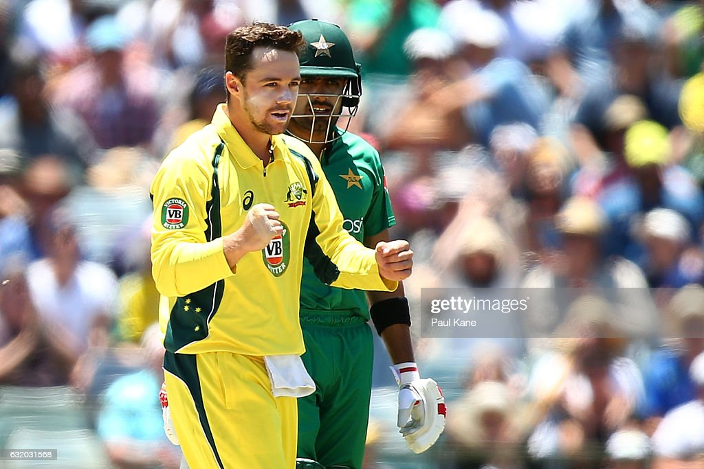 Travis Head of Australia celebrates the wicket of Asad Shafiq of Pakistan during game three of the One Day International series between Australia and Pakistan at WACA on January 19, 2017 in Perth, Australia.