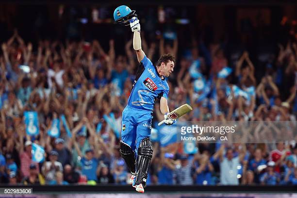 Travis Head of the Adelaide Strikers celebrates after hitting the winning runs during the Big Bash League match between the Adelaide Strikers and the...