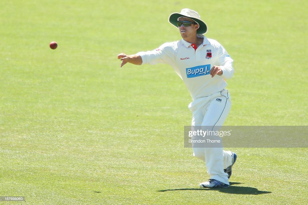 Travis Head of the Chairman's XI fields during day three of the international tour match between the Chairman's XI and Sri Lanka at Manuka Oval on December 8, 2012 in Canberra, Australia.