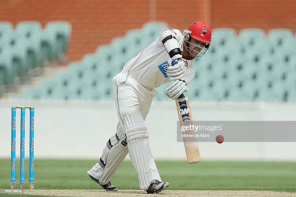Travis Head of the Redbacks bats during day one of the Sheffield Shield match between the South Australian redbacks and the Western Australia Warriors at Adelaide Oval on March 7, 2013 in Adelaide, Australia.