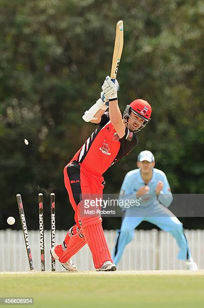 Travis Head of the Redbacks is bowled by Josh Hazelwood of the Blues during the Matador BBQs One Day Cup match between New South Wales and South...