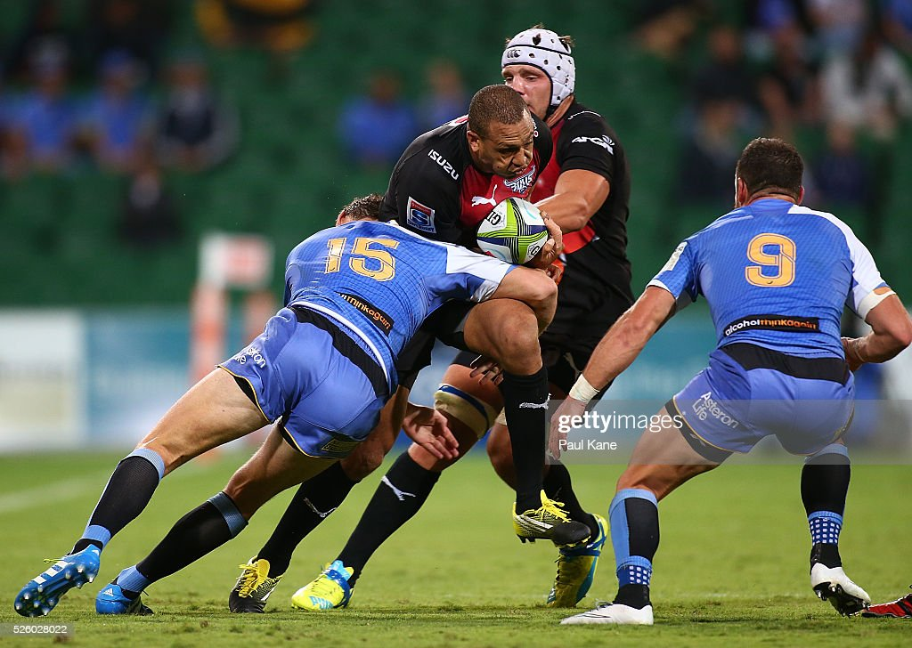 Travis Ismaiel of the Bulls gets tackled by Dane Haylett-Petty of the Force during the round 10 Super Rugby match between the Force and the Bulls at nib Stadium on April 29, 2016 in Perth, Australia.