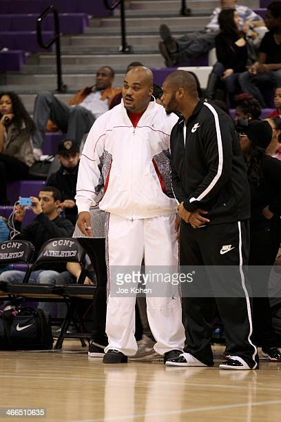 Travis Johnson and Wade Smith attend Gridiron Celebrity Hoops XVL at Nat Holman Gymnasium at City College of New York on February 1 2014 in New York...