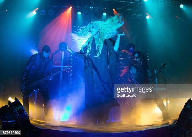 Travis Johnson Maria Brink and Randy Weitzel of In This Moment perform at The Fillmore on April 26 2017 in Detroit Michigan
