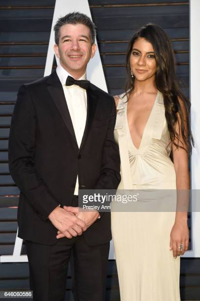 Travis Kalanick and guest attend the 2017 Vanity Fair Oscar Party hosted by Graydon Carter at Wallis Annenberg Center for the Performing Arts on...