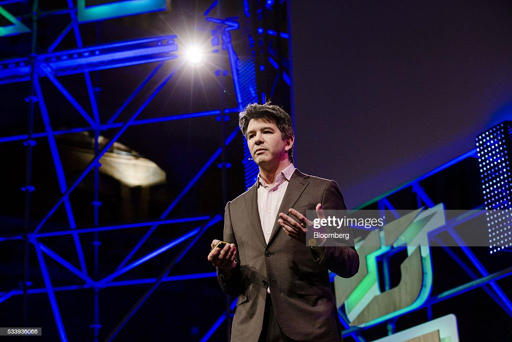 Travis Kalanick, billionaire and chief executive officer of Uber Technologies Inc., pauses during the opening of 'Startup Fest', a five-day conference to showcase Dutch innovation, in Amsterdam, Netherlands, on Tuesday, May 24, 2016. The Digital City Index for 2015 ranked Amsterdam Europe's second-best city, behind London, for tech startups. Photographer: Marlene Awaad/Bloomberg via Getty Images