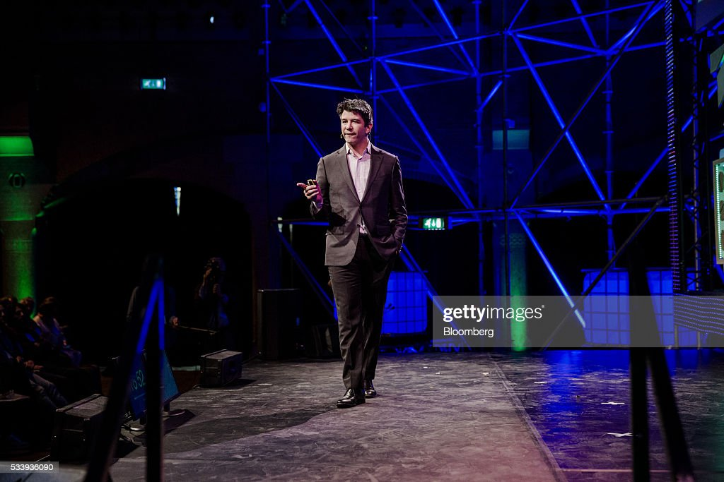 Travis Kalanick, billionaire and chief executive officer of Uber Technologies Inc., speaks during the opening of 'Startup Fest', a five-day conference to showcase Dutch innovation, in Amsterdam, Netherlands, on Tuesday, May 24, 2016. The Digital City Index for 2015 ranked Amsterdam Europe's second-best city, behind London, for tech startups. Photographer: Marlene Awaad/Bloomberg via Getty Images