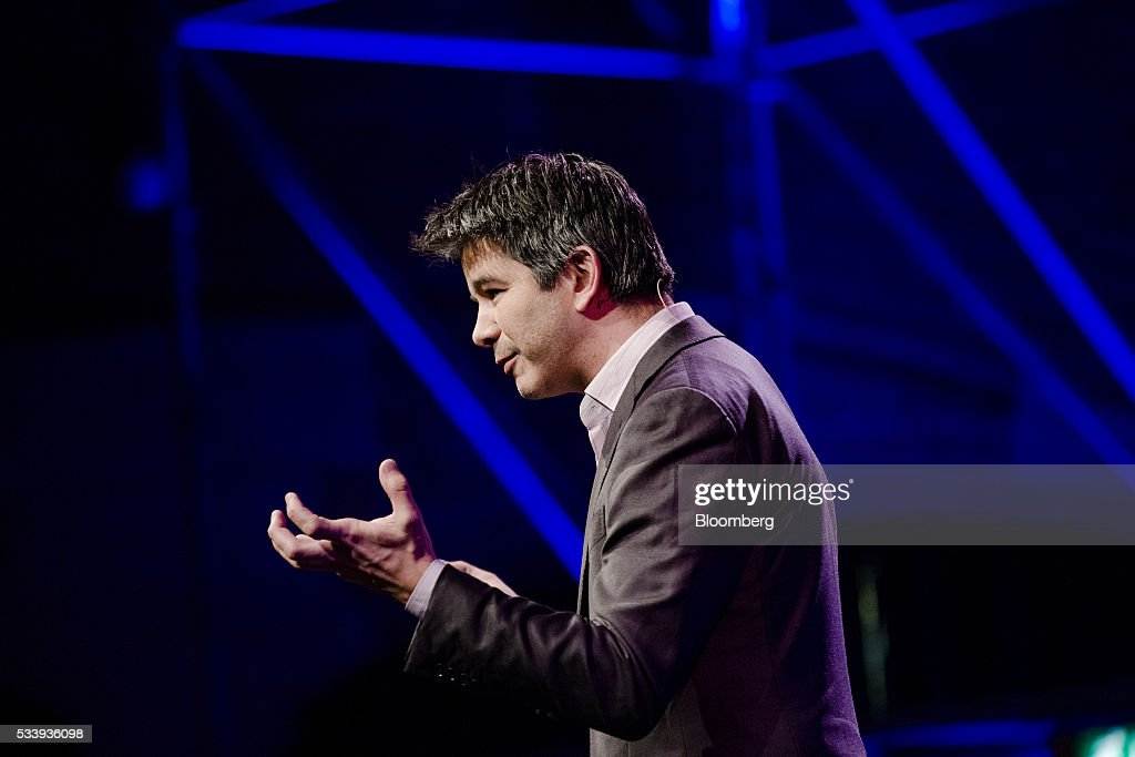 Travis Kalanick, billionaire and chief executive officer of Uber Technologies Inc., gestures during the opening of 'Startup Fest', a five-day conference to showcase Dutch innovation, in Amsterdam, Netherlands, on Tuesday, May 24, 2016. The Digital City Index for 2015 ranked Amsterdam Europe's second-best city, behind London, for tech startups. Photographer: Marlene Awaad/Bloomberg via Getty Images