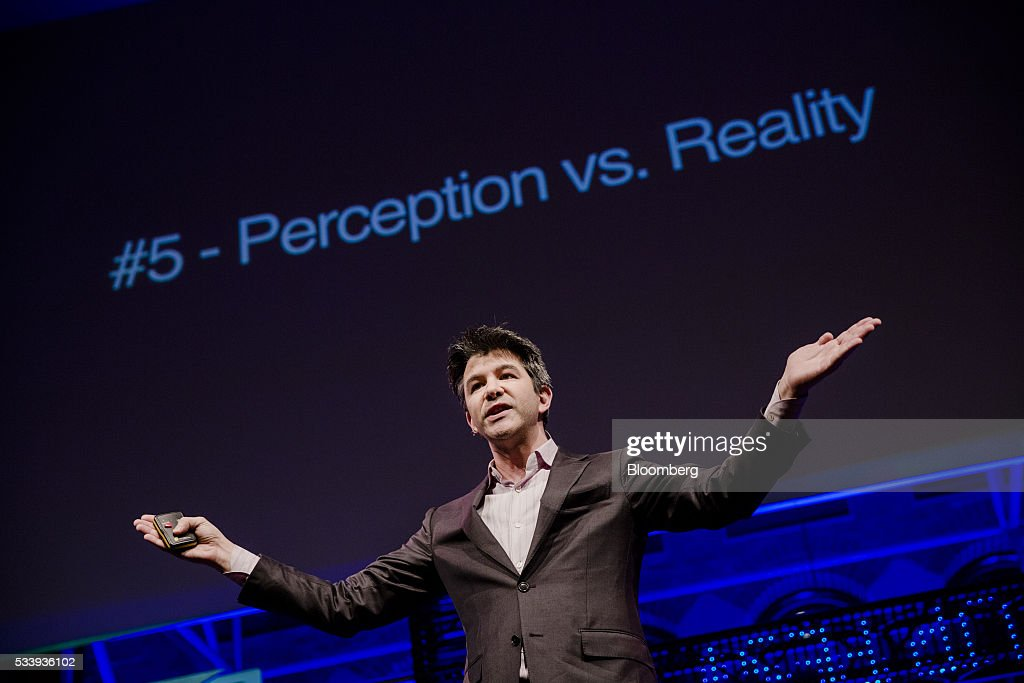 Travis Kalanick, billionaire and chief executive officer of Uber Technologies Inc., gestures whilst speaking during the opening of 'Startup Fest', a five-day conference to showcase Dutch innovation, in Amsterdam, Netherlands, on Tuesday, May 24, 2016. The Digital City Index for 2015 ranked Amsterdam Europe's second-best city, behind London, for tech startups. Photographer: Marlene Awaad/Bloomberg via Getty Images