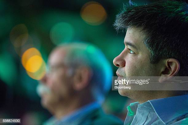 Travis Kalanick billionaire and chief executive officer of Uber Technologies Inc listens before speaking during the Noah technology conference in...