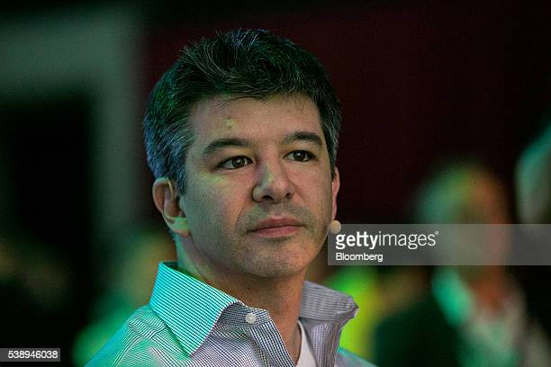 Travis Kalanick billionaire and chief executive officer of Uber Technologies Inc looks on during the Noah technology conference in Berlin Germany on...