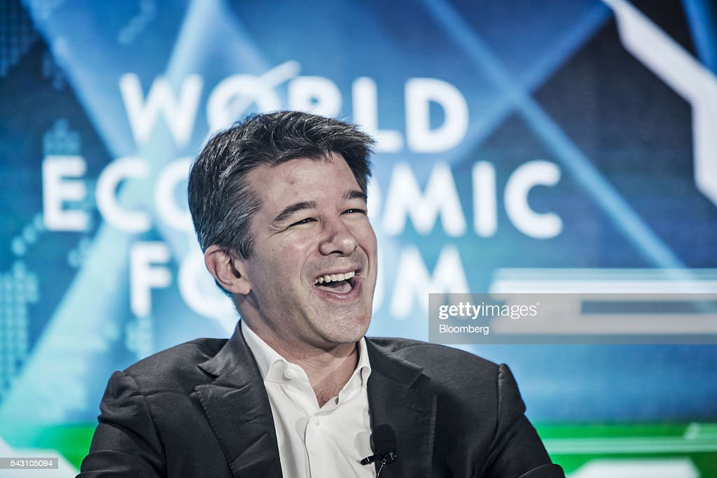 <a gi-track='captionPersonalityLinkClicked' href=/galleries/search?phrase=Travis+Kalanick&family=editorial&specificpeople=7808244 ng-click='$event.stopPropagation()'>Travis Kalanick</a>, billionaire and chief executive officer of Uber Technologies Inc., speaks during a session at the World Economic Forum (WEF) Annual Meeting of the New Champions in Tianjin, China, on Sunday, June 26, 2016. The meeting runs through June 28. Photographer: Qilai Shen/Bloomberg via Getty Images