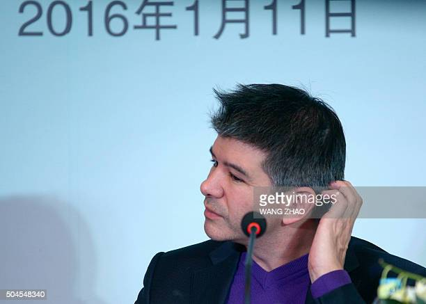 Travis Kalanick CEO of the global ridesharing service Uber attends a press conference in Beijing on January 11 2016 The Uber CEO spoke at a press...