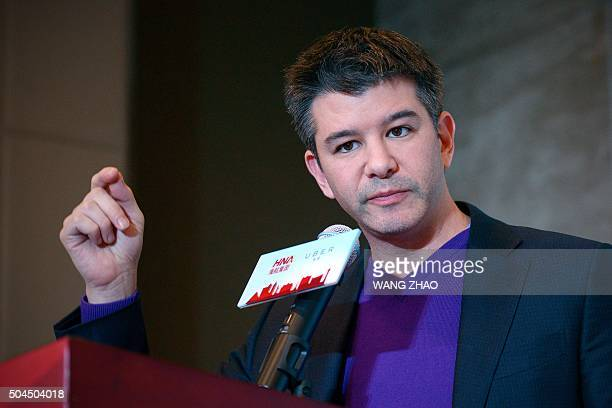 Travis Kalanick CEO of the global ridesharing service Uber speaks during a press conference in Beijing on January 11 2016 Uber launched in China in...