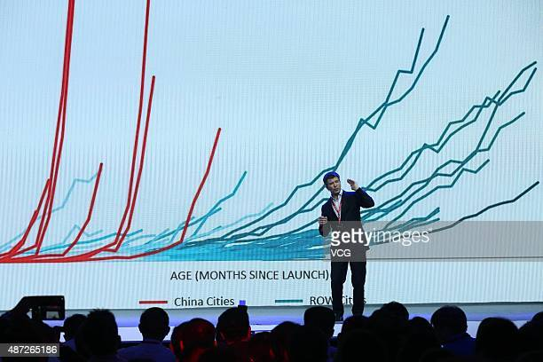 Travis Kalanick CEO of Uber Technologies attends the launching conference of Baidu's AIpowered digital assistant 'Duer' during the 2015 Baidu...
