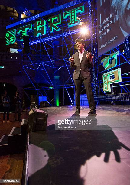 Travis Kalanick CEO Uber gives a presentation during the kickoff of Startup Fest Europe on May 24 2016 in Amsterdam The Netherlands The event...
