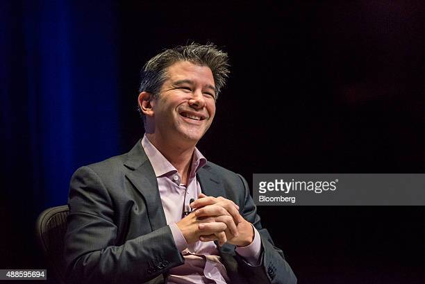 Travis Kalanick chief executive officer of Uber Technologies Inc smiles during the DreamForce Conference in San Francisco California US on Wednesday...
