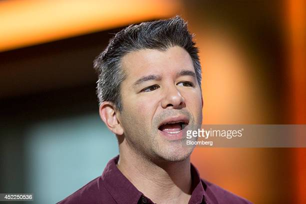 Travis Kalanick cofounder and chief executive officer of Uber Technologies Inc speaks during a Bloomberg Television interview in Hong Kong China on...