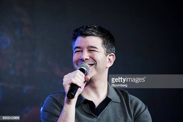 Travis Kalanick cofounder and chief executive officer of Uber Technologies Inc speaks during th TiE Global Entrepeneurs Summit in New Delhi India on...