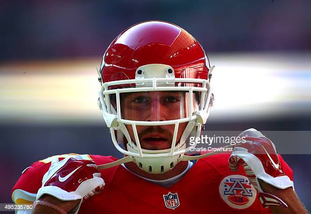 Travis Kelce of Kansas Chiefs looks on during the NFL match against the Detroit Lions at Wembley Stadium on November 01 2015 in London England