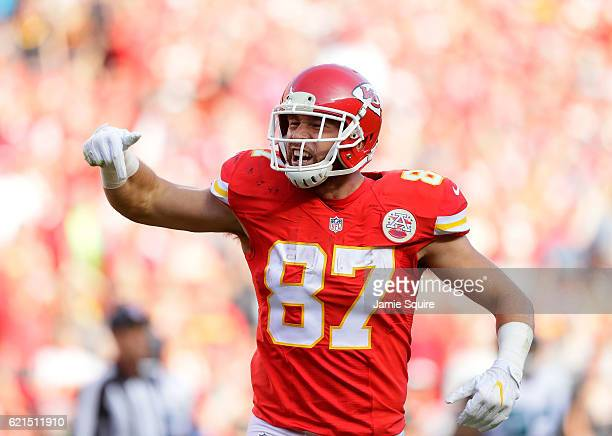 Travis Kelce of the Kansas City Chiefs reacts after making a catch during the game at Arrowhead Stadium on November 6 2016 in Kansas City Missouri