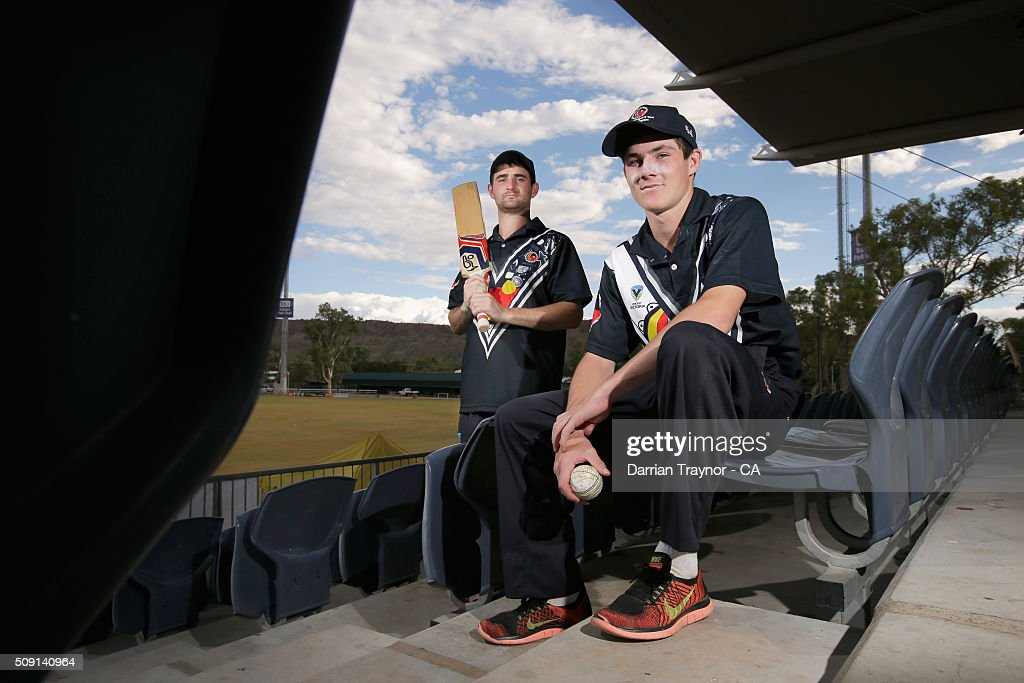 Travis King and Wade King of Victoria pose for a photo during day 2 of the National Indigenous Cricket Championships on February 9, 2016 in Alice Springs, Australia.