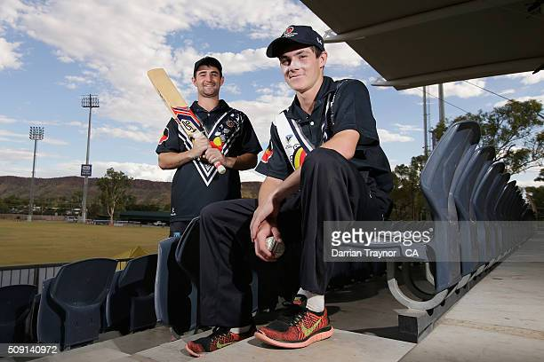 Travis King and Wade King of Victoria pose for a photo during day 2 of the National Indigenous Cricket Championships on February 9 2016 in Alice...