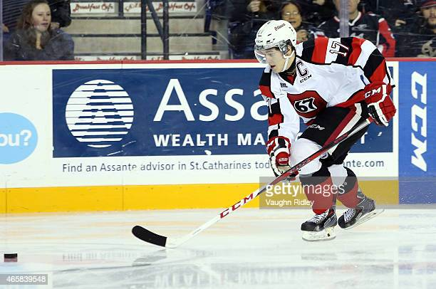 Travis Konecny of the Ottawa 67's skates during an OHL game against the Niagara IceDogs at the Meridian Centre on March 7 2015 in St Catharines...