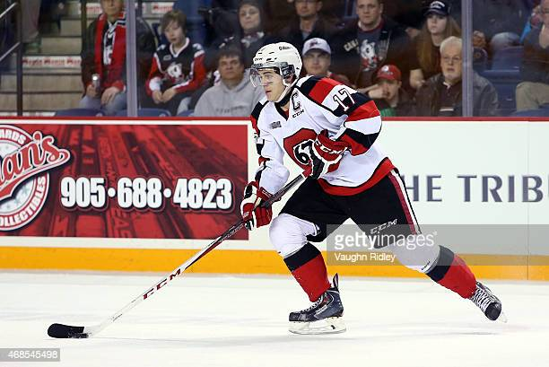 Travis Konecny of the Ottawa 67's skates during Game 3 of the Eastern Conference QuarterFinals against the Niagara IceDogs at the Meridian Centre on...