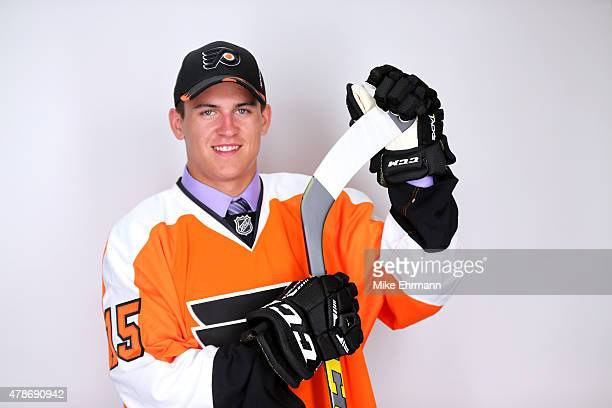 Travis Konecny poses for a portrait after being selected 24th overall by the Philadelphia Flyers during the 2015 NHL Draft at BBT Center on June 26...