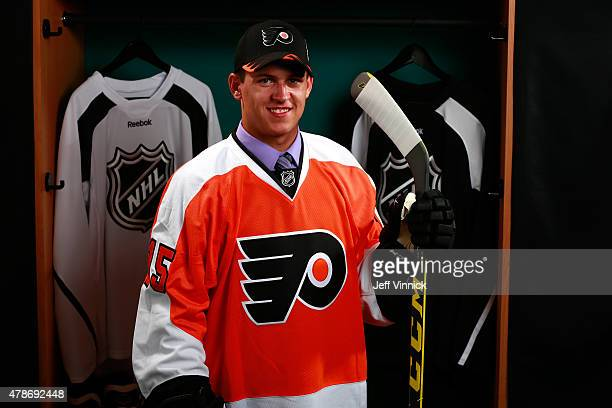 Travis Konecny poses for a portrait after being selected 24th overall by the Philadelphia Flyers during Round One of the 2015 NHL Draft at BBT Center...