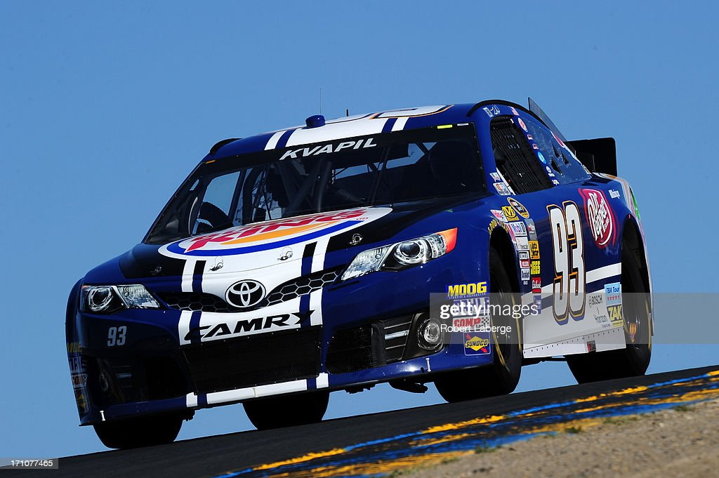 Travis Kvapil, driver of the #93 Burger King/Dr. Pepper Toyota, drives during practice for the NASCAR Sprint Cup Series Toyota/Save Mart 350 at Sonoma Raceway on June 21, 2013 in Sonoma, California.