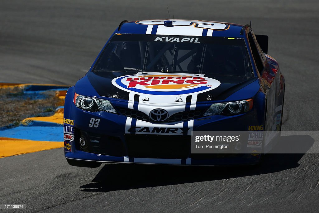 Travis Kvapil, driver of the #93 Burger King/Dr. Pepper Toyota, drives during qualifying for the NASCAR Sprint Cup Series Toyota/Save Mart 350 at Sonoma Raceway on June 22, 2013 in Sonoma, California.
