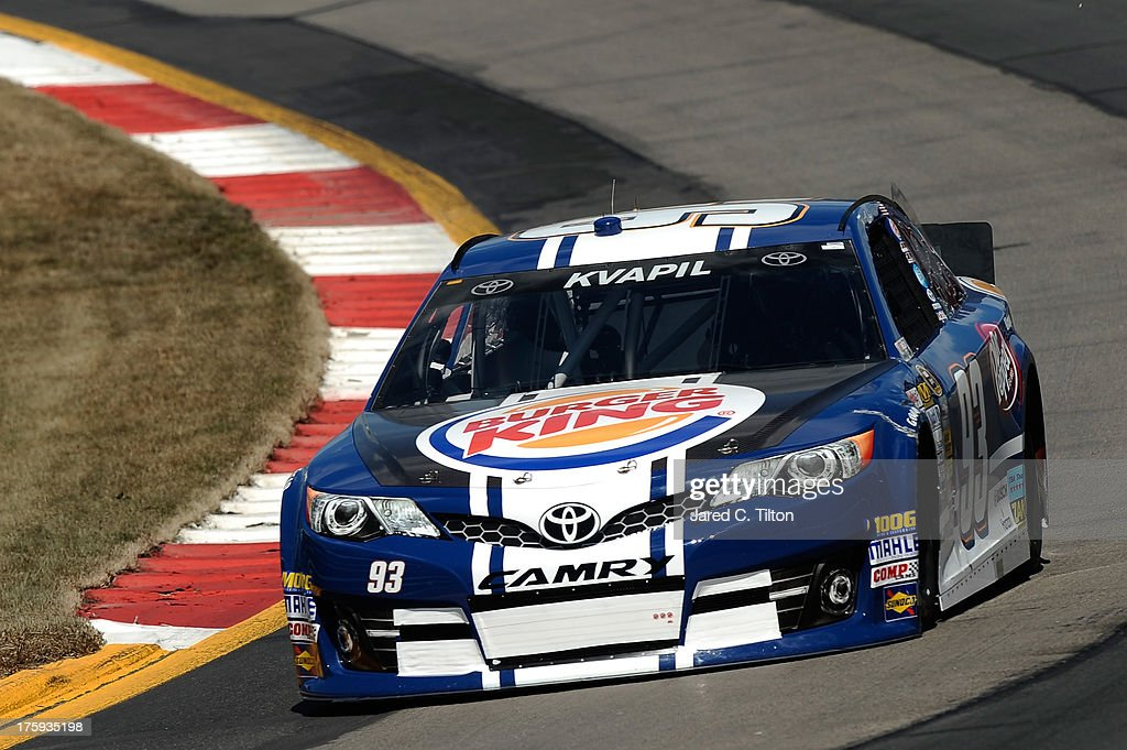 Travis Kvapil, driver of the #93 Burger King/Dr. Pepper Toyota, qualifies for the NASCAR Sprint Cup Series Cheez-It 355 at The Glen at Watkins Glen International on August 10, 2013 in Watkins Glen, New York.