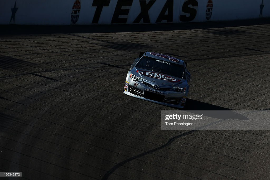 Travis Kvapil drives the #93 Burger King/Dr. Pepper Toyota, during NASCAR Sprint Cup Series Gen-6 Testing at Texas Motor Speedway on April 11, 2013 in Fort Worth, Texas.