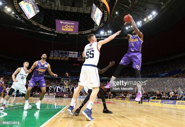Travis Leslie of the Kings shoots during the round one NBL match between the Sydney Kings and the Adelaide 36ers at Qudos Bank Arena on October 7...