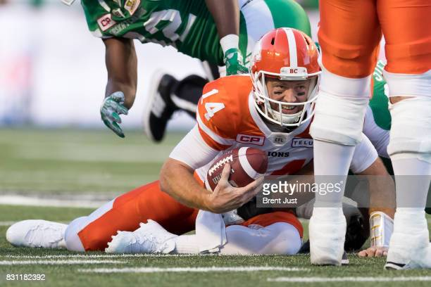 Travis Lulay of the BC Lions after being sacked in the first half of the game between the BC Lions and the Saskatchewan Roughriders at Mosaic Stadium...