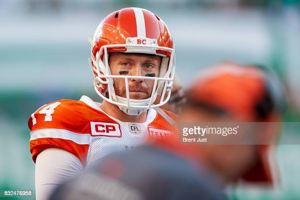 Travis Lulay of the BC Lions on the sideline during the game between the BC Lions and the Saskatchewan Roughriders at Mosaic Stadium on August 13...