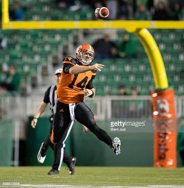 Travis Lulay of the BC Lions slings a pass in the preseason game between the BC Lions and Saskatchewan Roughriders at Mosaic Stadium on June 11 2016...
