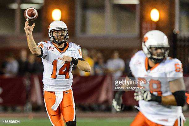 Travis Lulay of the BC Lions throws the ball during the CFL game against the Montreal Alouettes at Percival Molson Stadium on September 3 2015 in...