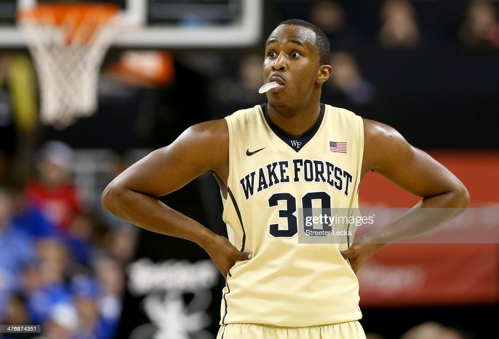 Travis McKie of the Wake Forest Demon Deacons reacts during their game against the Duke Blue Devils at Joel Coliseum on March 5 2014 in WinstonSalem...
