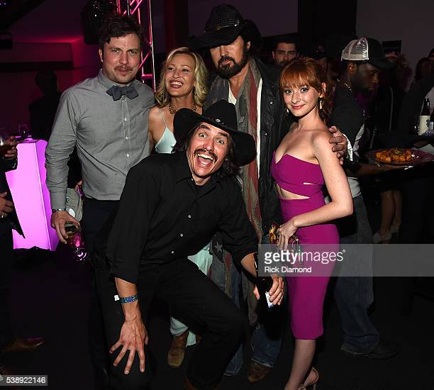 Travis Nicholson Joey Lauren Adams Jon Sewell Billy Ray Cyrusand Chelsea Talmadge attend the 2016 CMT Music awards at the Bridgestone Arena on June 8...