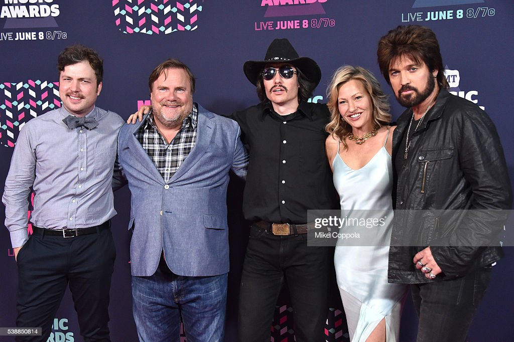 Travis Nicholson, Kevin P. Farley, Jon Sewell, Joey Lauren Adams, and Billy Ray Cyrus attend the 2016 CMT Music awards at the Bridgestone Arena on June 8, 2016 in Nashville, Tennessee.