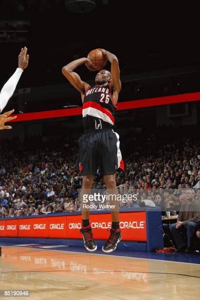 Travis Outlaw of the Portland Trail Blazers shoots a jump shot during the game against the Golden State Warriors at Oracle Arena on February 12 2009...