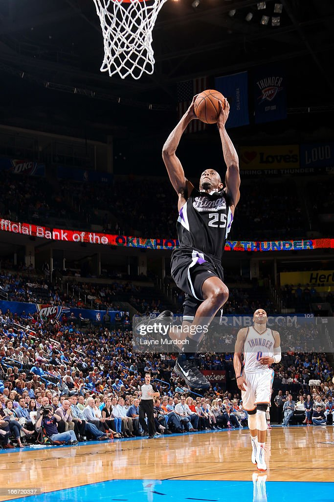 Travis Outlaw #25 of the Sacramento Kings rises for a dunk on a fast break against the Oklahoma City Thunder on April 15, 2013 at the Chesapeake Energy Arena in Oklahoma City, Oklahoma.