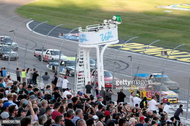 Travis Pastrana Al Niece Chevrolet Silverado takes the green flag on a restart during the Las Vegas 350 NASCAR Camping World Truck Series race on...