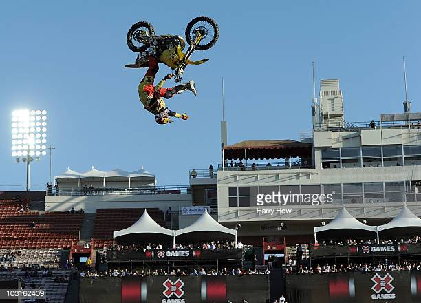 Travis Pastrana competes in the Moto X Freestyle Final during X Games 16 at the LA Coliseum on July 29 2010 in Los Angeles California Pastrana would...