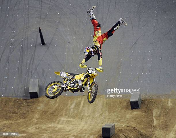Travis Pastrana competes to a gold medal in the Moto X Speed Style Final during X Games 16 at Staples Center on August 1 2010 in Los Angeles...